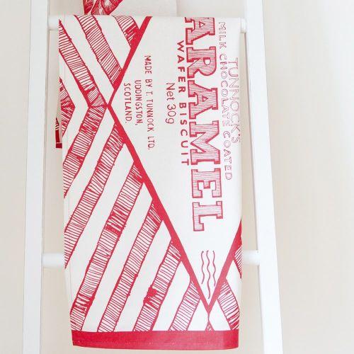 Tunnocks Caramel Wafer Wrapper Tea Towel
