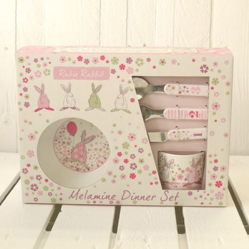Pink Melamine Dinner Set by Rufus Rabbit