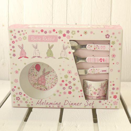 Pink Melamine Dinner Set by Rufus Rabbit