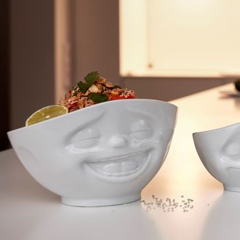 White Porcelain Bowl 1000ml Laughing design - NEW SIZE