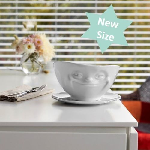 White Porcelain Bowl 1000ml 'Grinning' design - NEW SIZE