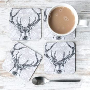 Set of 4 Coasters - Highland Cow design