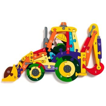 Wooden Jigsaw - Alphabet Backhoe