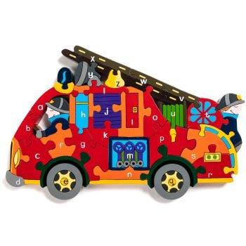 Wooden Jigsaw - Alphabet Fire Engine
