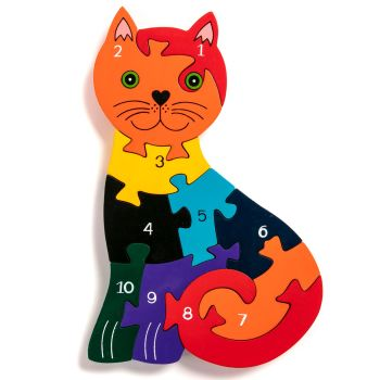 Wooden Jigsaw - Number Cat