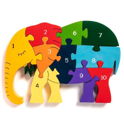 Wooden Jigsaw - Number Elephant