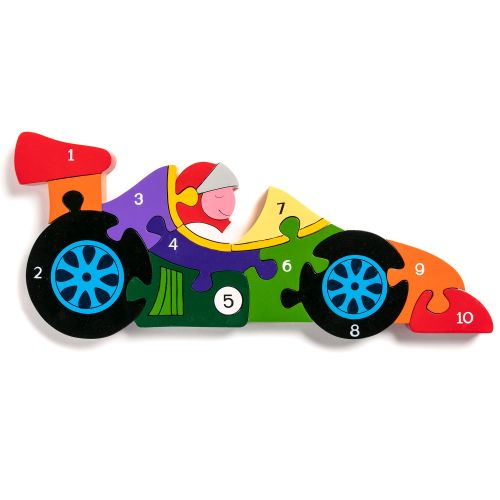 Wooden Jigsaw - Number Racing Car