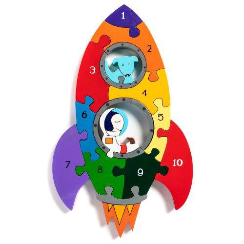 Wooden Jigsaw - Number Rocket
