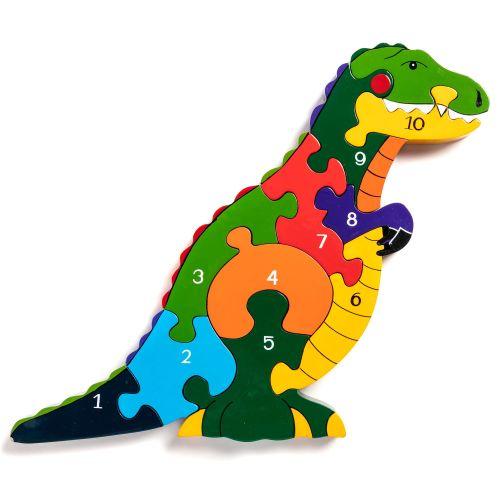 Wooden Jigsaw - Number T-Rex