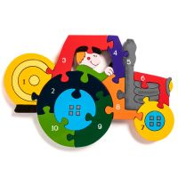 Wooden Jigsaw - Number Tractor