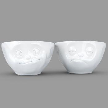 'Tasty' and 'Snoozy' White Porcelain Bowl Set (200ml x 2) by Tassen