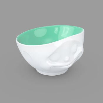 'Happy' Porcelain Bowl 500ml with a Jade colour inside
