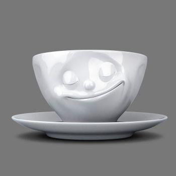Espresso Cup - White Porcelain 'Happy' design