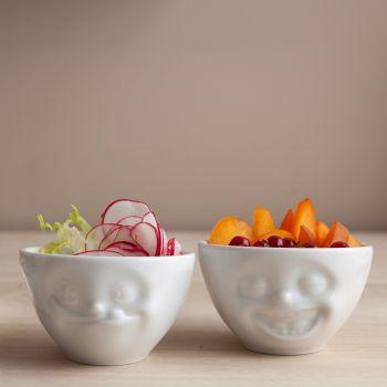 White Porcelain Dip Bowl Set 'Laughing & Tasty' 100ml