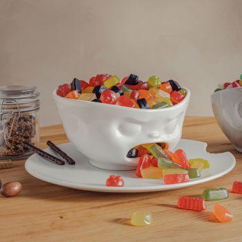 White Porcelain Bowl 1000ml 'Barfing' design