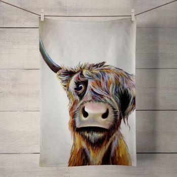 A Bad Hair Day Highland Cow Tea Towel