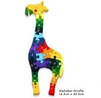 A colourful wooden Giraffe Jigsaw to help with learning the alphabet from Lovely Lane Gifts