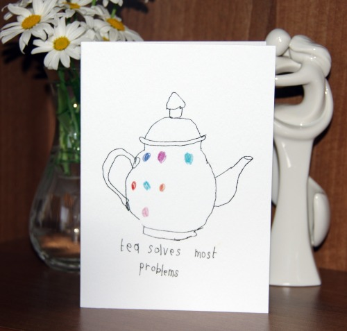 'Tea Solves Most Problems' - Greeting Card