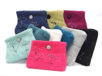 Sprig Embroidered Purse/Clutch Bag - by Janie Withers