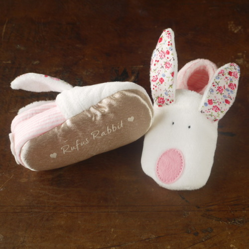 Rufus Rabbit - Girl Baby Slippers 0-6 mths
