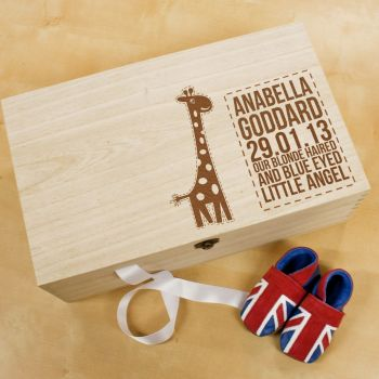 Personalised Baby Giraffe Keepsake Box