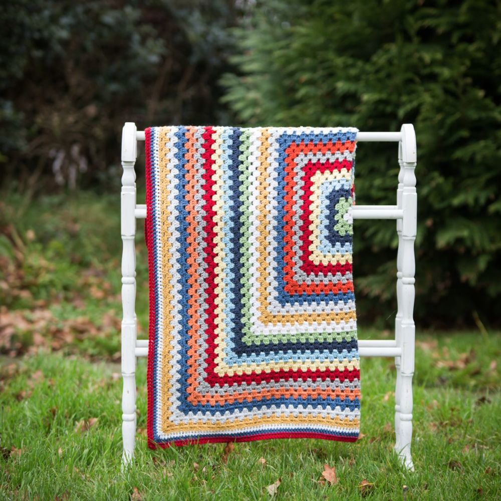 Luxury Crochet Blanket - Multi colours - Merino Wool, Cashmere