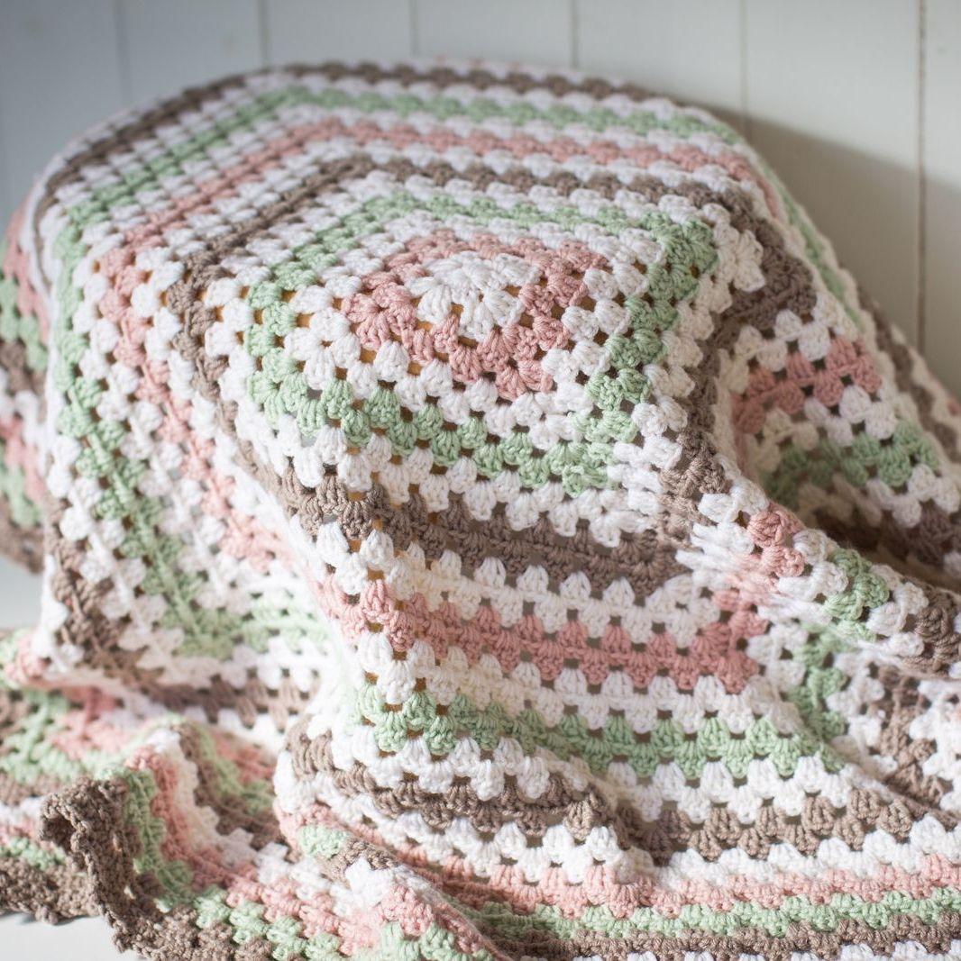 Luxury Granny Square Baby Blanket - Merino/Cashmere Blend - Handmade, Croch