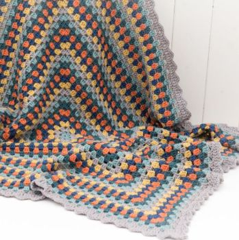 Luxury Crochet Throw - Blue Multi - Merino Wool, Cashmere Blend
