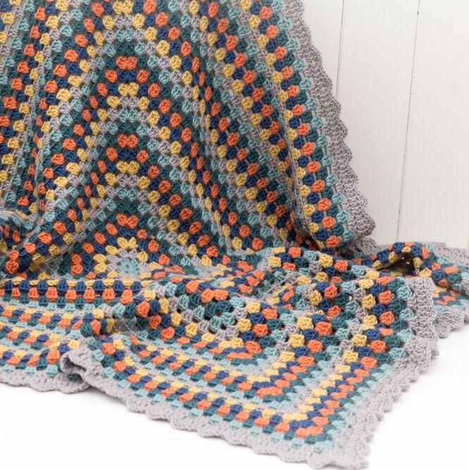 Luxury Crochet Throw - Blue Multi - Merino Wool, Cashmere Blend