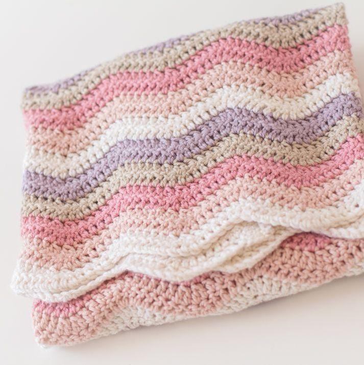 Crochet Ripple Stripes Blanket - Pinks - Merino Wool, Cashmere