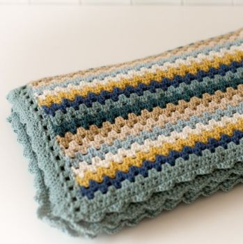 Luxury Crochet Blanket - Blues - Merino Wool, Cashmere