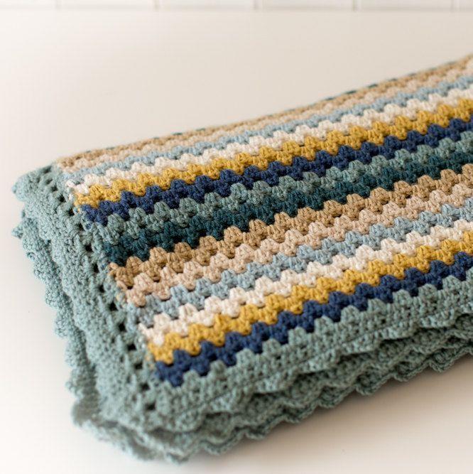 Luxury Crochet Blanket - Blues - Merino Wool, Cashmere