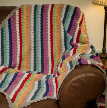 Luxury Crochet Blanket, Afghan, Throw - Multi Colour - Merino Wool, Cashmere