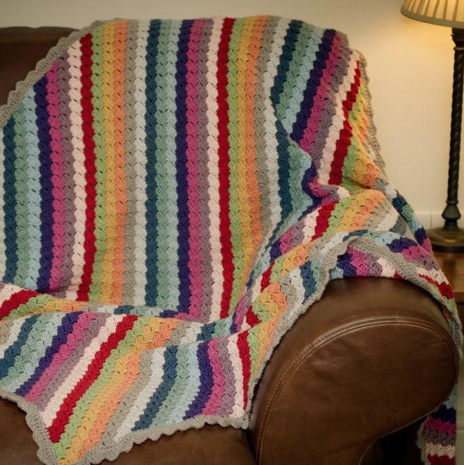 Luxury Crochet Blanket, Afghan, Throw - Multi Colour - Merino Wool, Cashmer