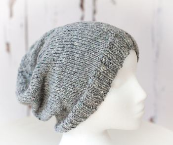 Slouch Beanie Hat - Children, Adult, Aran weight yarn - Knitting Pattern