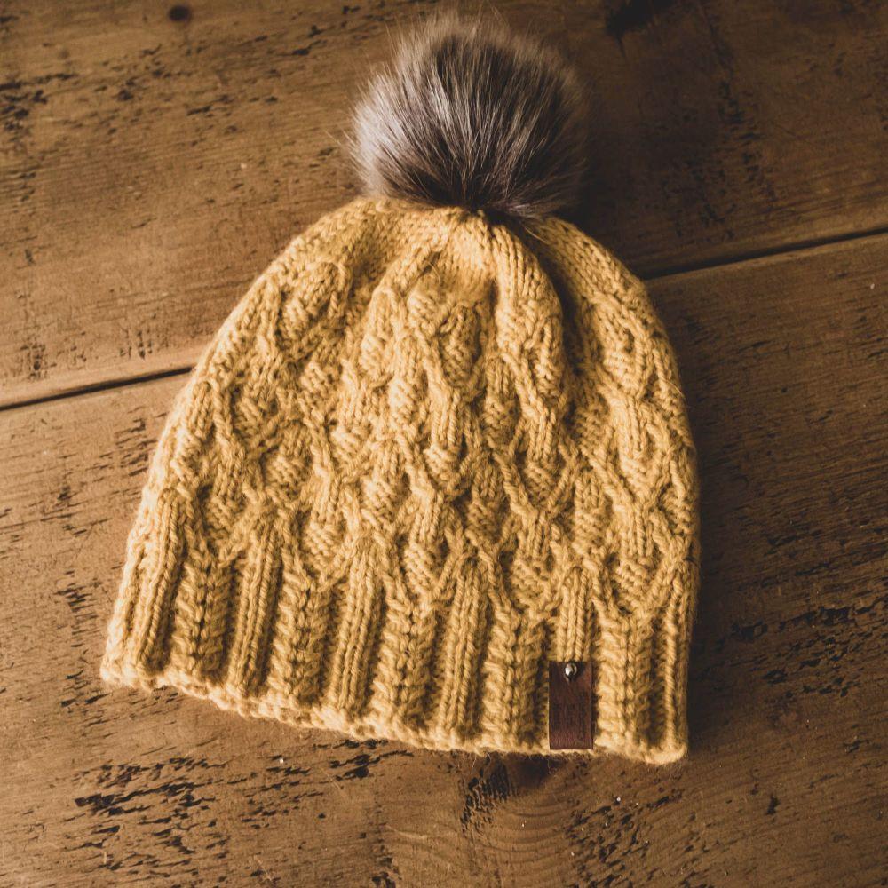 Forked Diamonds Adult Hat Faux Fur Pom Pom - Wool/Alpaca - Goldenrod
