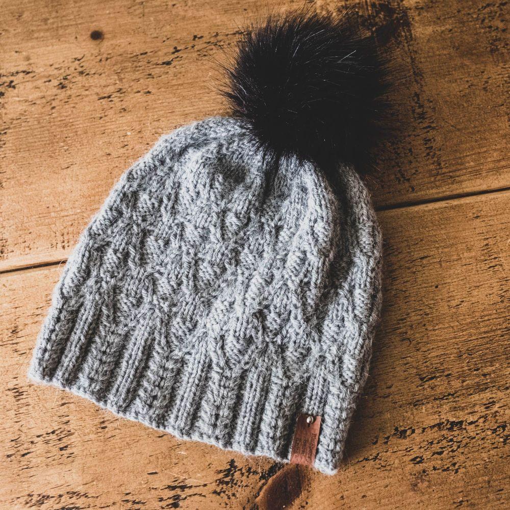Forked Diamonds Adult Hat Faux Fur Pom Pom - Wool/Alpaca - Grey