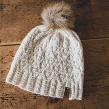 Forked Diamonds Adult Hat Faux Fur Pom Pom - Wool/Alpaca - Ecru