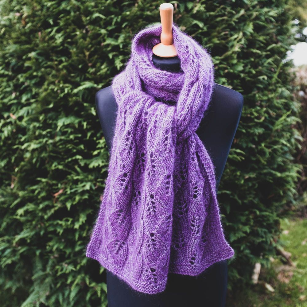 Luxury  Hand Knit 'Falling Leaves' Scarf - Mohair/Silk/Alpaca/Wool - Purple