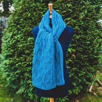 Luxury  Hand Knit 'Falling Leaves' Scarf - Mohair/Silk/Alpaca/Wool - Teal