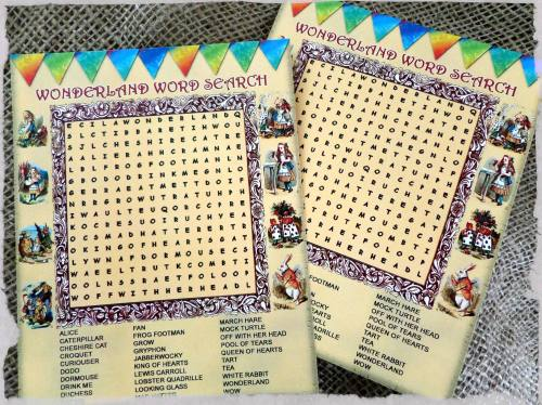 5 Alice In Wonderland Themed Party Wordsearches