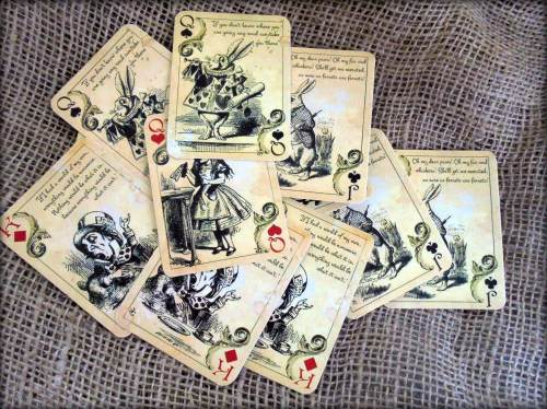 12 Alice in Wonderland Themed Playing Cards - Table Decorations,Tags,Topper