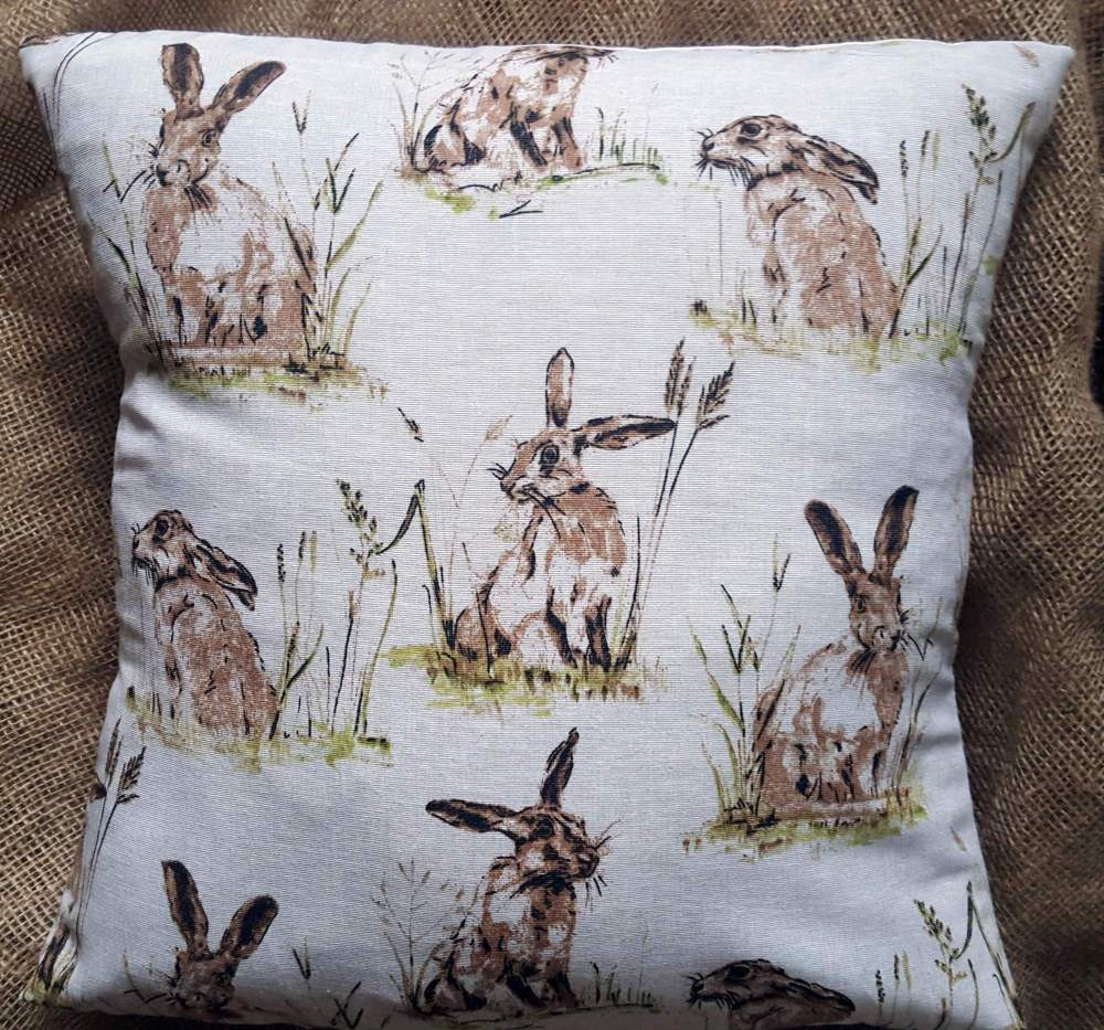 Countryside Animals 'Hare' Print Cotton Fabric Cushion Cover 16