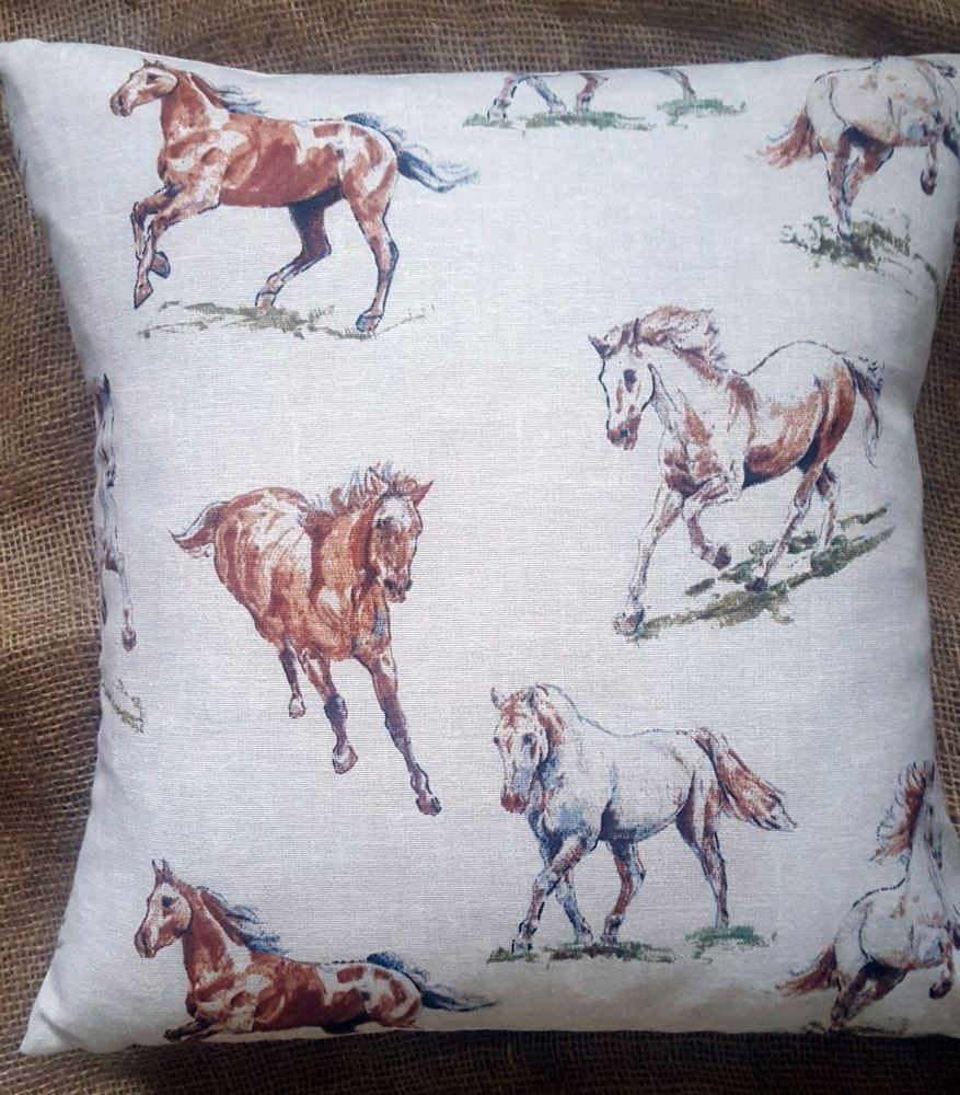 Countryside Animals 'Galloping Horses' Cotton Fabric Cushion Cover 16