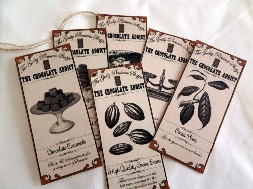 The Guilty Pleasures Shoppe 'Chocolate Addict' Gift Tags x 6
