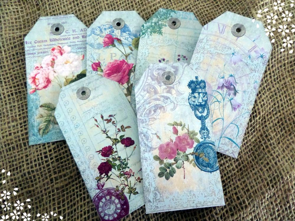 Set of 6 Large Vintage Style Shabby Chic Floral Gift Tags