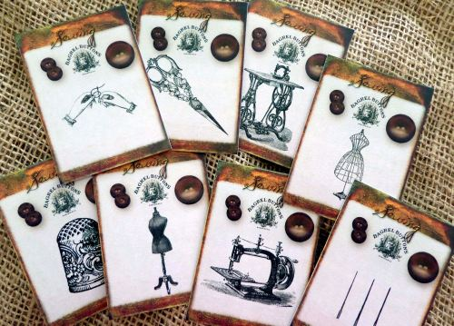 Set of 8 Sewing Themed 'Bagrel Buttons' Tags/Toppers/Embellishments