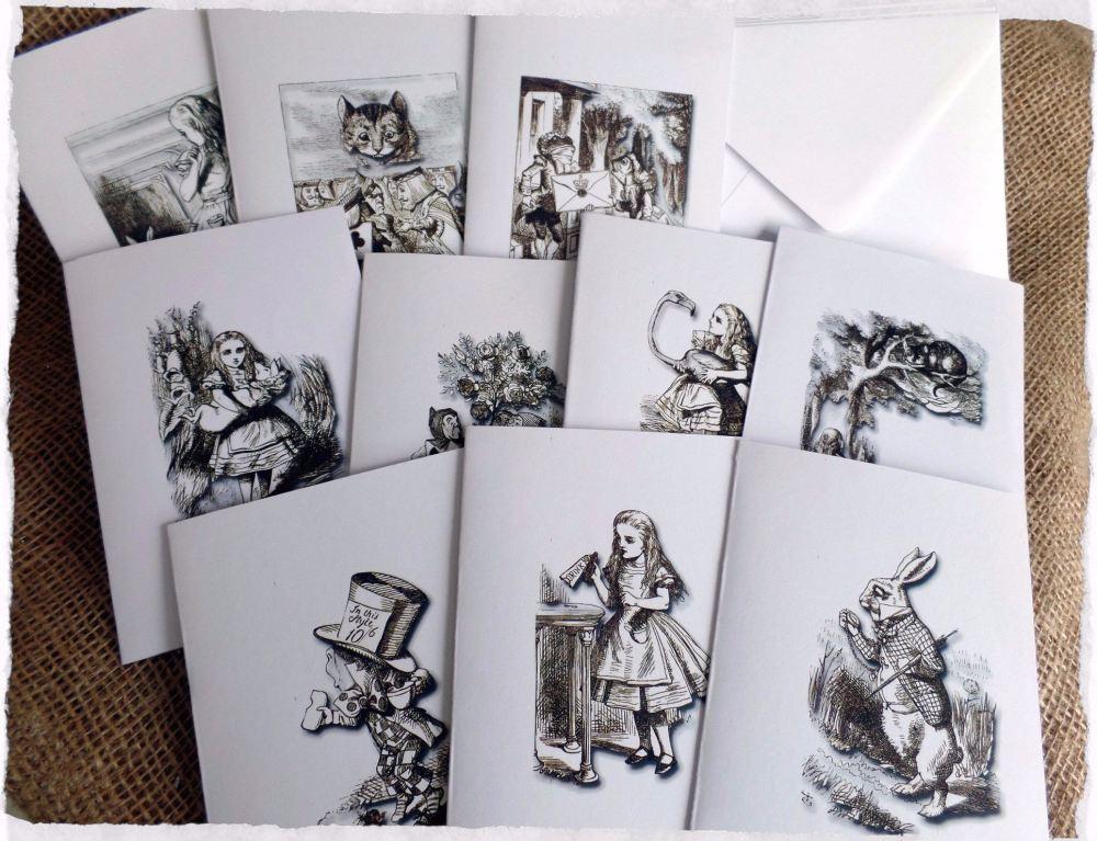Set of 10 Blank Alice in Wonderland Note/Greetings Cards & Envelopes