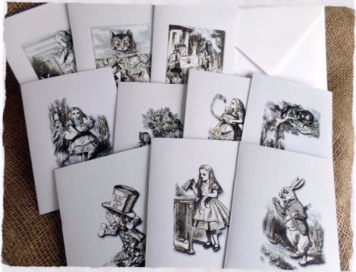 Set of 10 Blank Alice in Wonderland Note/Greetings Cards & Envelopes
