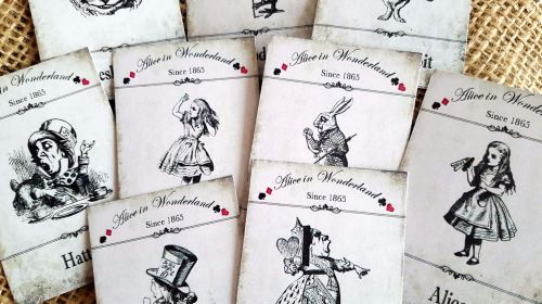 Set of 9 Alice in Wonderland Character Mini Cards/Toppers/Tags
